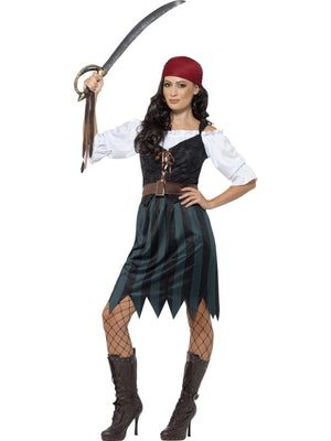 Women's Pirate Deckhand Fancy Dress Costume