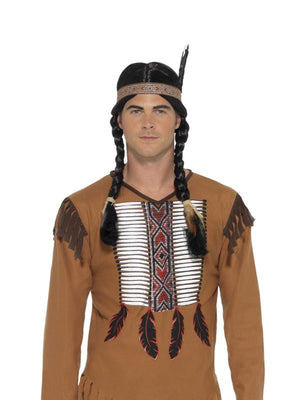 Men's Native Western Warrior Fancy Dress Costume
