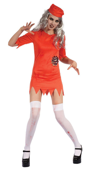Zombie Prisoner Lady (Orange Dress/Hat)