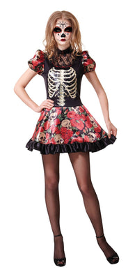 Ladies Day Of the Dead Doll Fancy Dress Costume