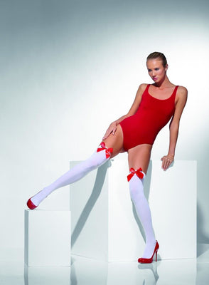 Womens Opaque Hold-Ups White with Red Bow