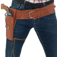 Adult Faux Leather Single Holster with Belt Brown