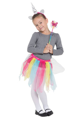 Rainbow Unicorn Tutu/Hband + Wand set