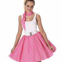 Dark Pink Polka Dot Skirt & Necktie