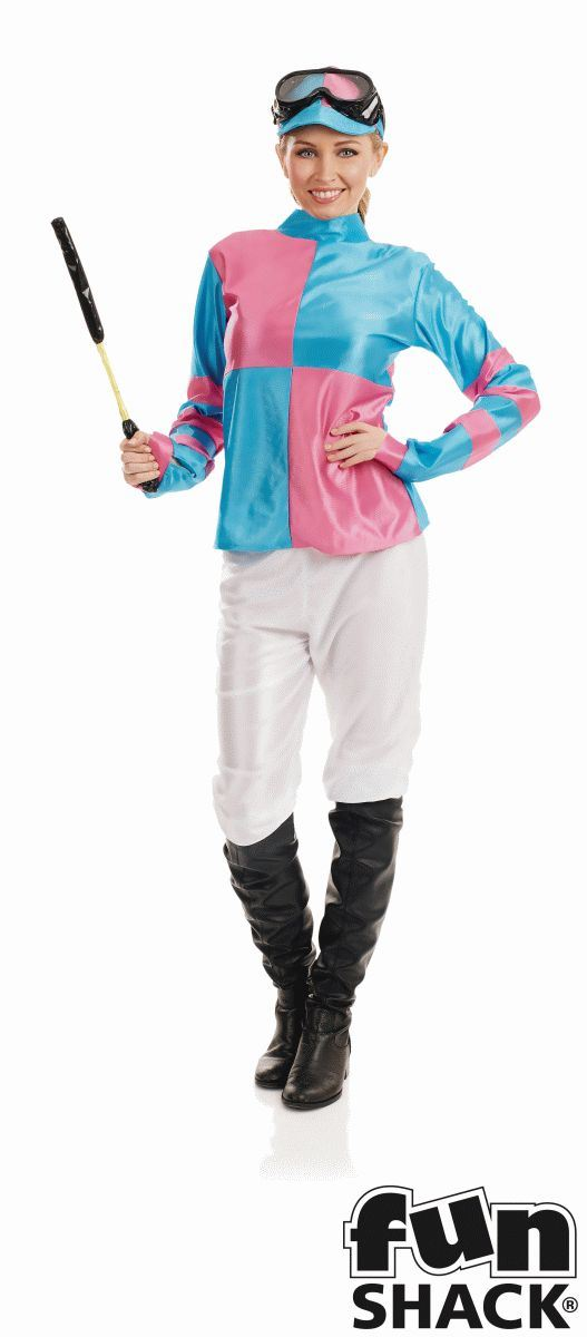 Pink And Blue Jockey Women's Fancy Dress Costume