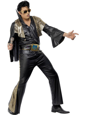 Elvis Fancy Dress Costume Black and Gold