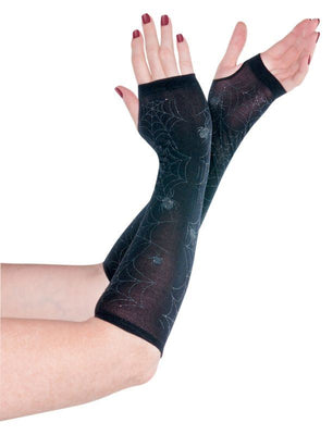 Womens Black Spider Arm Warmers