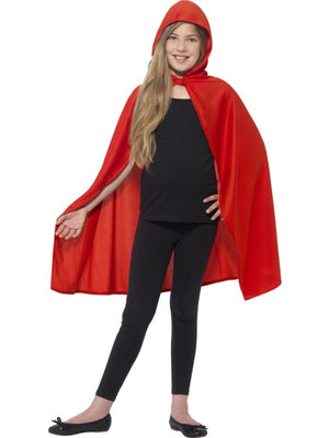 Hooded Cape Red Fancy Dress Costume