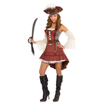 Women's Castaway Pirate Fancy Dress Costume
