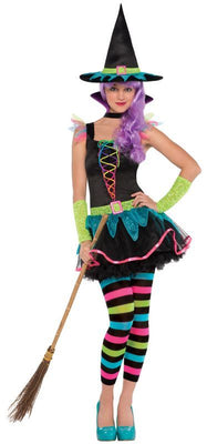 Girls Neon Witch Teen Fancy Dress Costume
