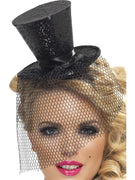 Black Glitter Mini Top Fancy Dress Hat