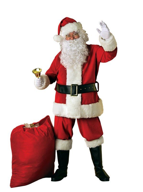 Extra Deluxe Velour Santa Suit Fancy Dress Costume