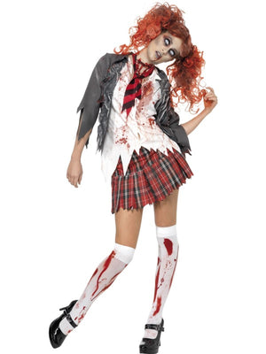 Zombie Schoolgirl Fancy Dress Costume