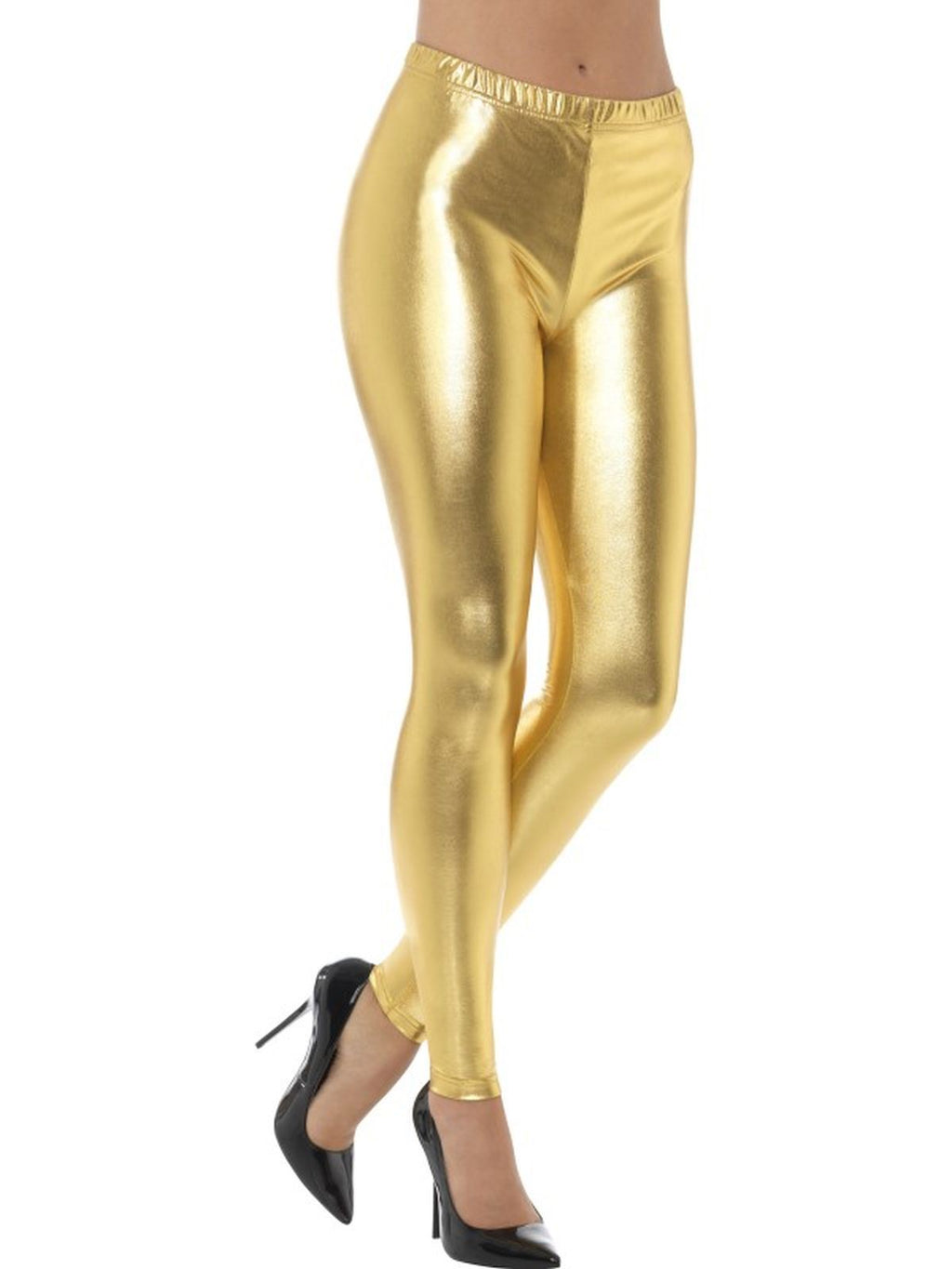 80's Metallic Disco Leggings Gold women's Fancy Dress