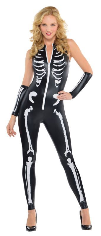 Women's Skeleton Catsuit Fancy Dress Costume