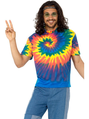 1960s Tie Dye T-Shirt Men's Fancy Dress