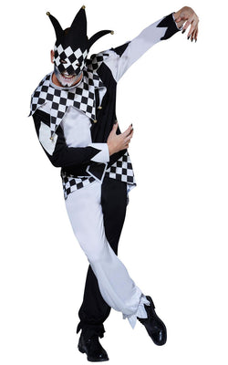 Mens Jester Halloween Fancy Dress Costume Outfit Carnival
