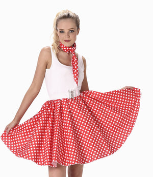 Red Polka Dot Skirt & Necktie