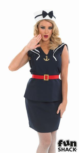 Women's Pin Up Sailor Girl Fancy Dress Costume