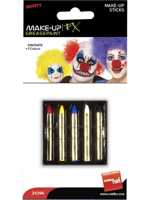 Make-Up Sticks in 5 Colours, Red, Yellow, Blue, Black and White