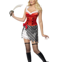 Ladies Pirate Fancy Dress Costume with Fancy Dress Hat
