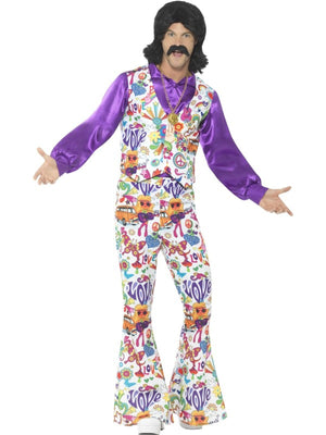 60's Groovy Hippie Men's Fancy Dress Costume