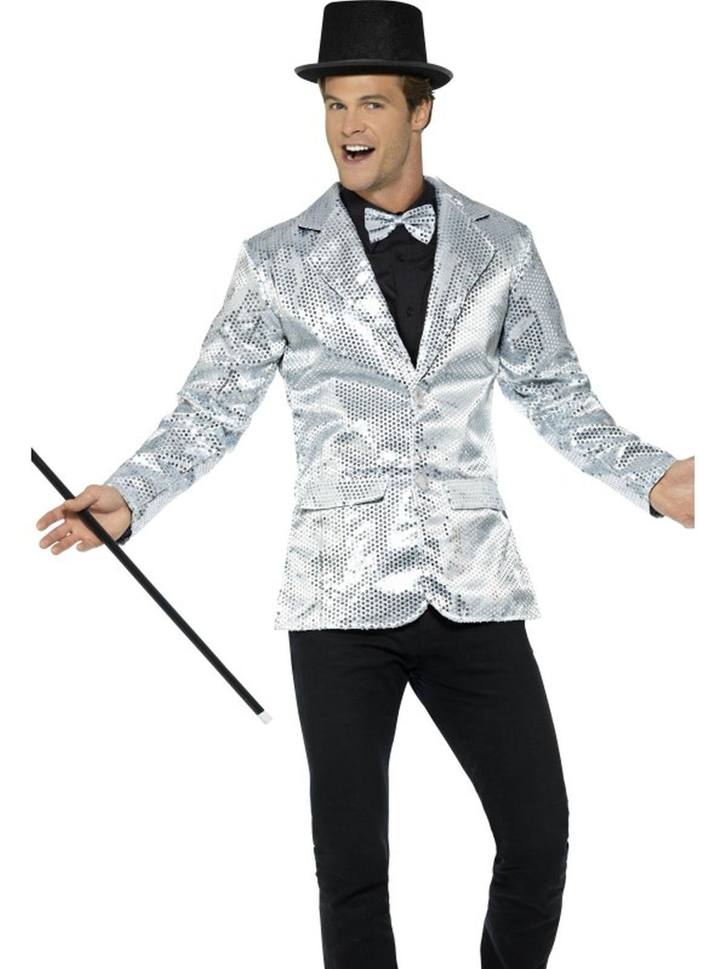Sequin Jacket Silver Mens Costume