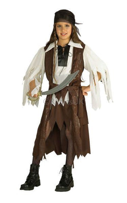 Girls Caribbean Pirate Queen Fancy Dress Costume