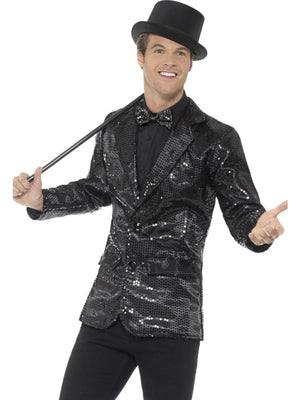 Sequin Jacket Men's Fancy Dress Costume Black