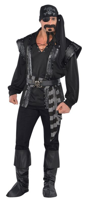 Mens Dark Sea Scoundrel Pirate Fancy Dress Costume