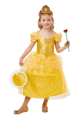 Belle Girls Disney Princess Fancy Dress Costume Glitter And Sparkle