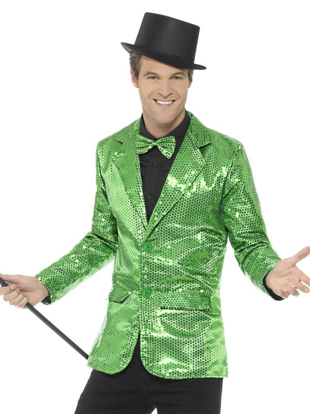 Sequin Jacket Green Mens Fancy Dress Costume