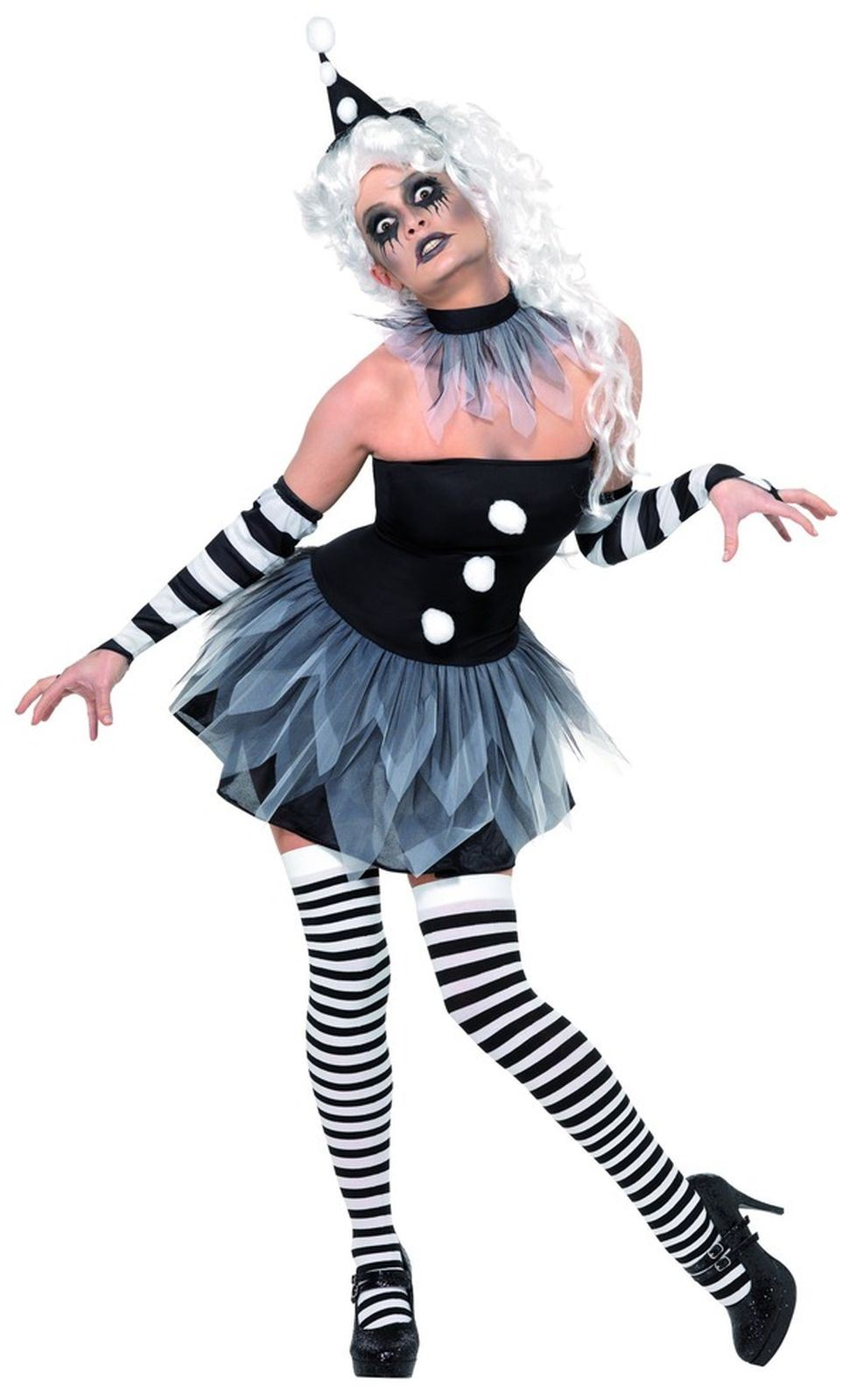 Sinister Pierrot Fancy Dress Costume