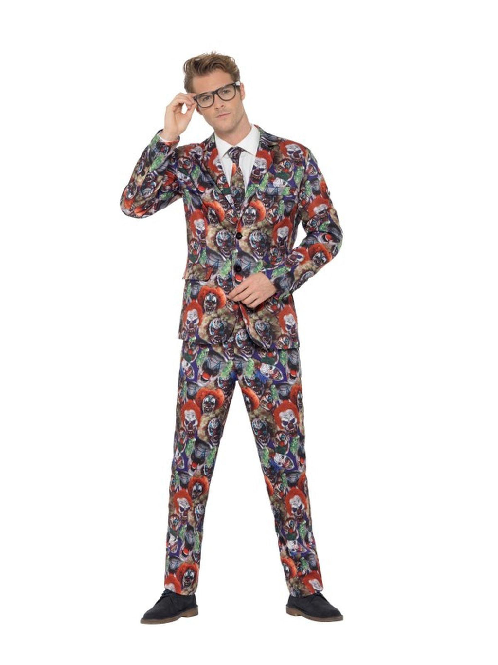 Evil Clown Suit Men's Fancy Dress Costume
