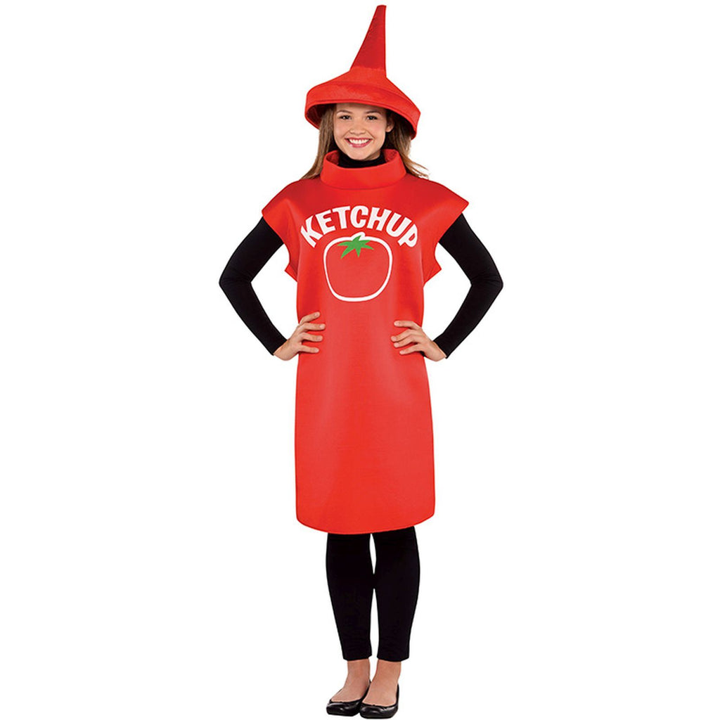 Adult Ketchup Bottle Fancy Dress Costume