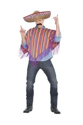 Mens Mexican Poncho and Sombrero Fancy Dress Costume