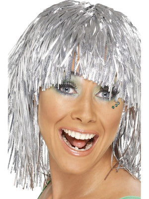 Cyber Tinsel Fancy Dress Wig Silver