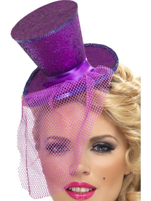 Mini Top Fancy Dress Hat on Headband, Purple