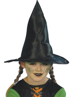 Childs Black Fabric Witch Fancy Dress Hat