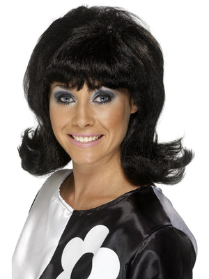 60's Flick-Up Wig Black