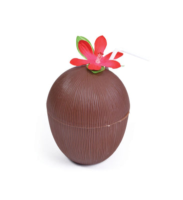 Plastic Coconut Cup with  Flower and  Straw