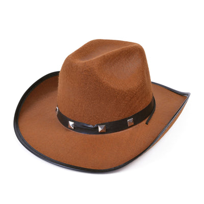 Brown Felt Cowboy Studded Hat