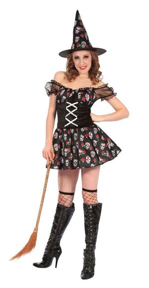 Women's Witch Skull Design Fancy Dress Costume