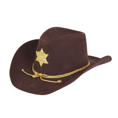 Cowboy Hat Brown W/Gold Sheriff Badge