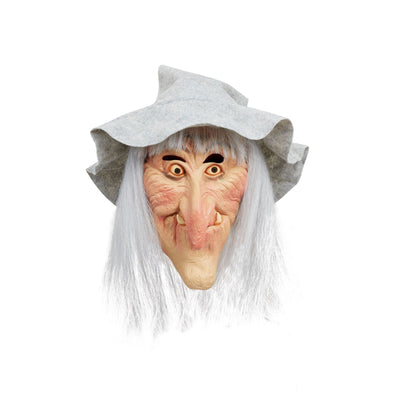 Witch Mask With Grey Hat & White Hair
