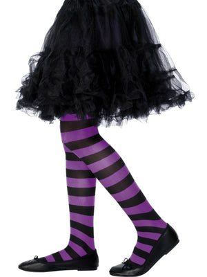 Childs Stripy Tights Purple and Black