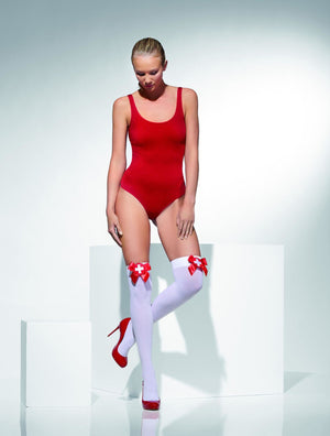 Opaque Hold-Ups White with Red bow and Cross