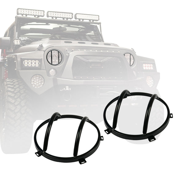Black Headlight Guards For 2007 - 2017 Jeep Wrangler JK