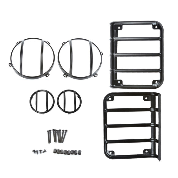 Complete Set Black Light Guard Kit For Headlights, Taillights, and Turn signals 2007 - 2017 Jeep Wrangler JK