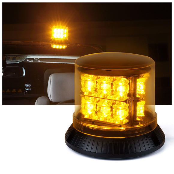 18 LED 12 Flash Patterns 18W Revolving Strobe Beacon Light - AMBER